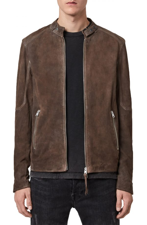 Men's Allsaints Grantham Leather Jacket, Size X-Large - Beige