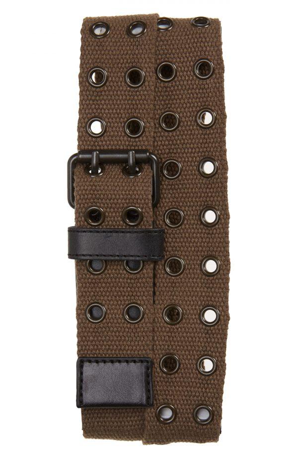Men's Allsaints Grommet Webbed Belt, Size 32 - Military Green