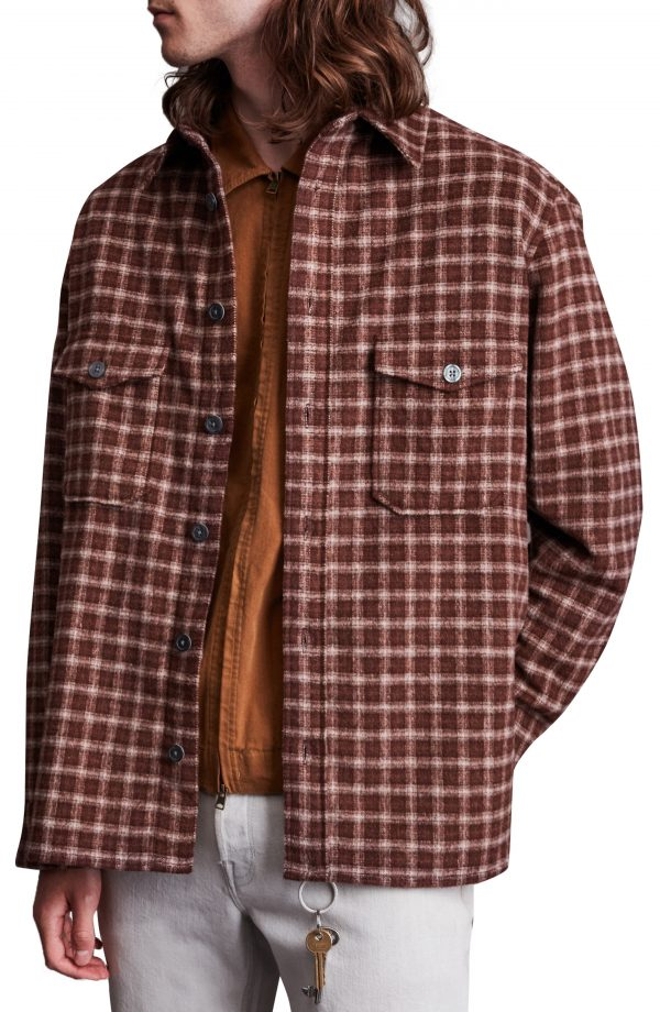 Men's Allsaints Guerra Check Flannel Button-Up Shirt, Size Small - Red