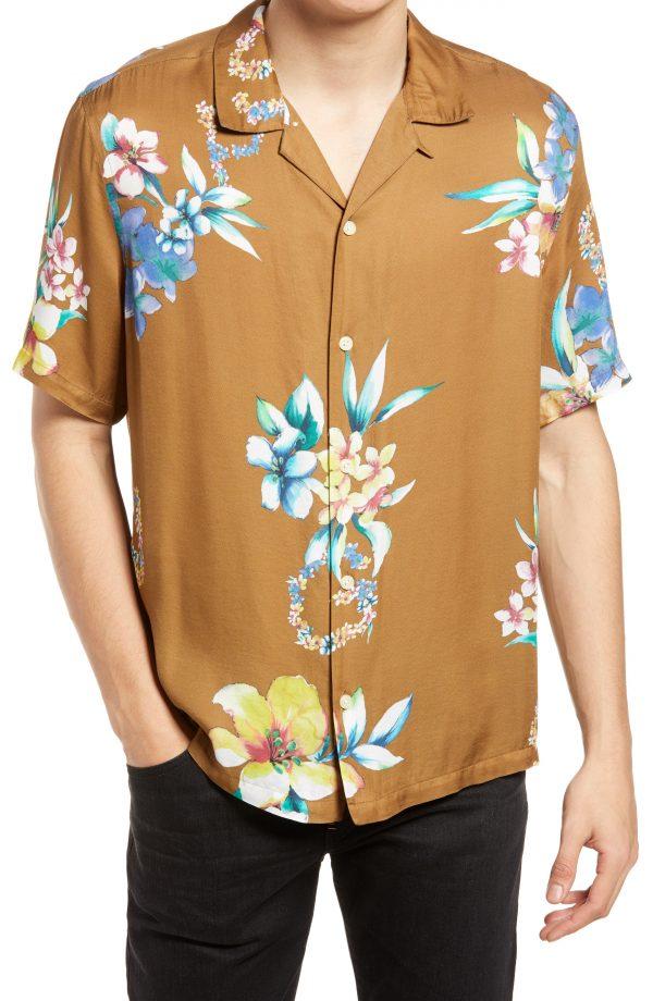 Men's Allsaints Hana Floral Short Sleeve Button-Up Camp Shirt, Size Medium - Brown