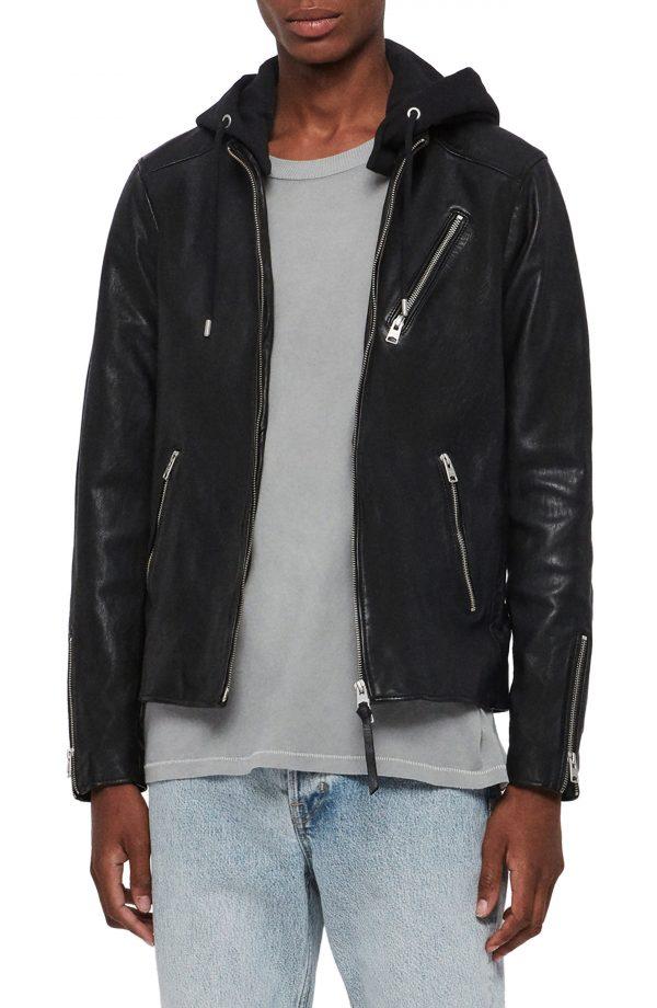 Men's Allsaints Harwood Hooded Leather Jacket, Size Large - Black