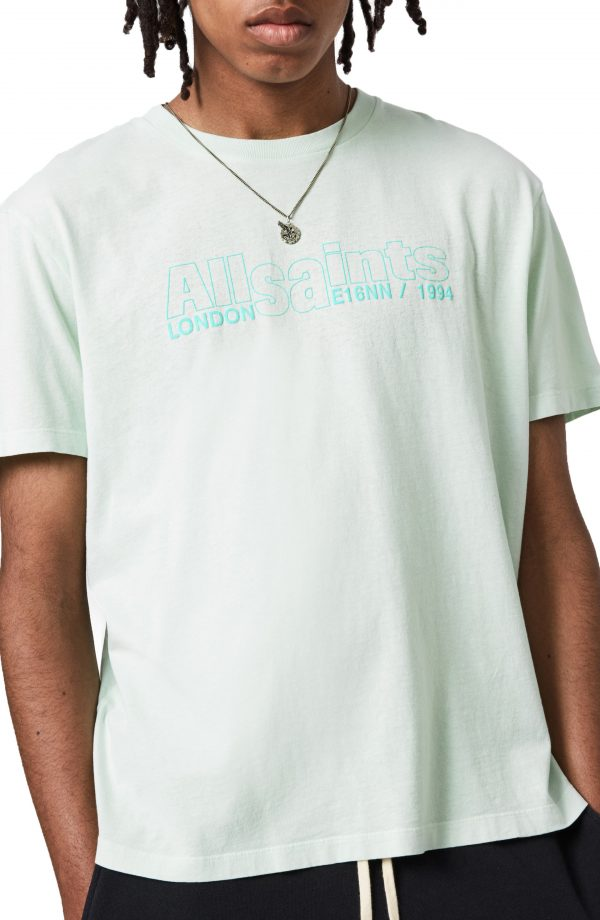 Men's Allsaints Hollowpoint Cotton Graphic Tee, Size Small - Green