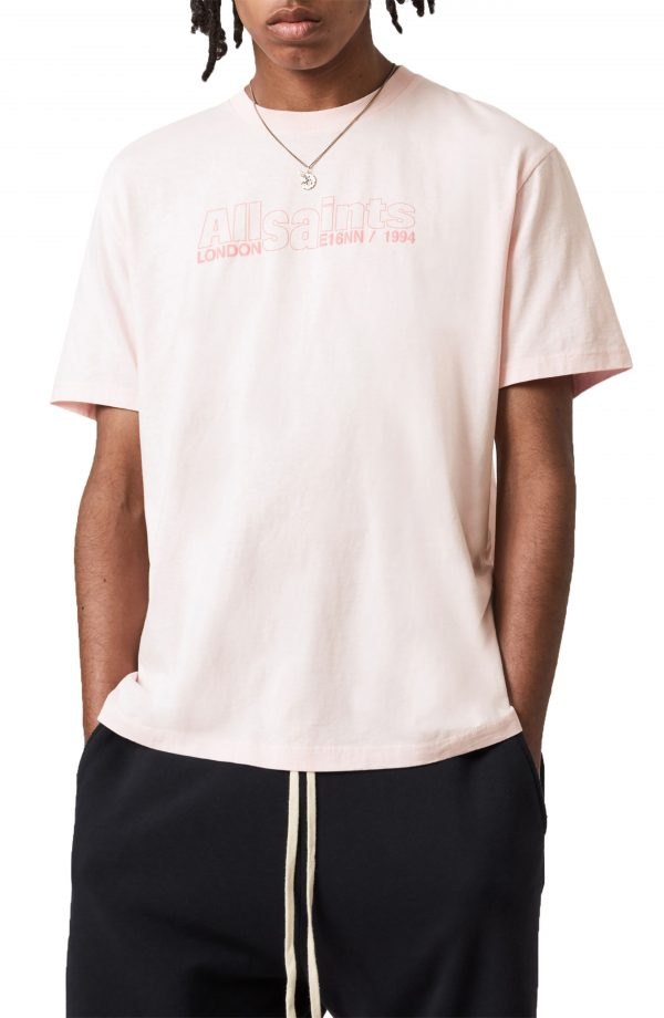 Men's Allsaints Hollowpoint Cotton Graphic Tee, Size X-Small - Pink