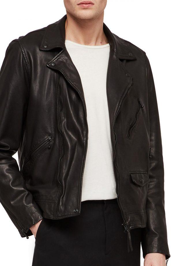 Men's Allsaints Holt Slim Fit Leather Biker Jacket, Size Medium - Black