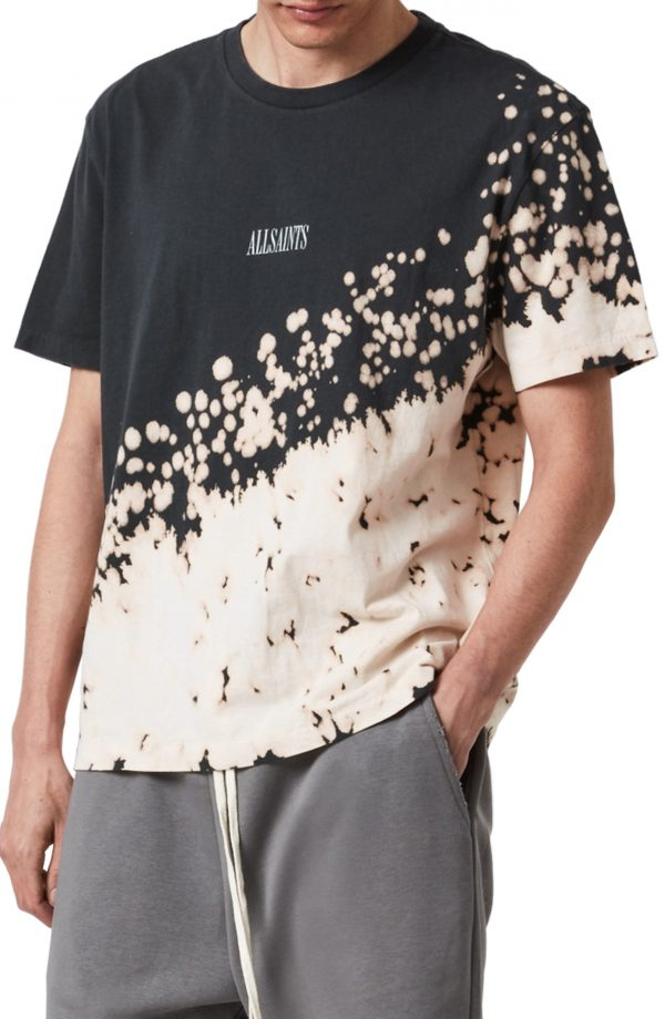 Men's Allsaints Jaxx Splatter T-Shirt, Size XX-Large - Black