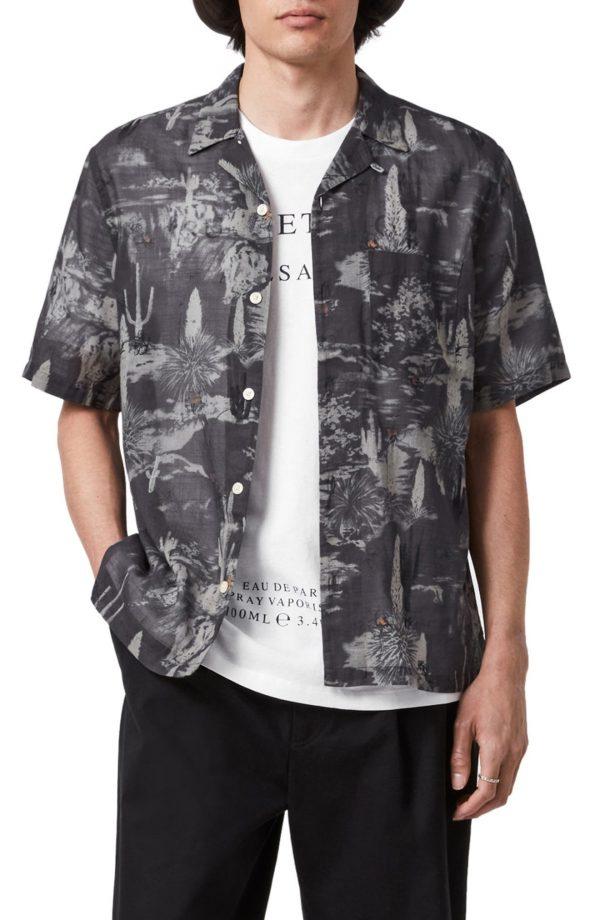 Men's Allsaints Joshua Tree Print Short Sleeve Button-Front Camp Shirt, Size Medium - Black