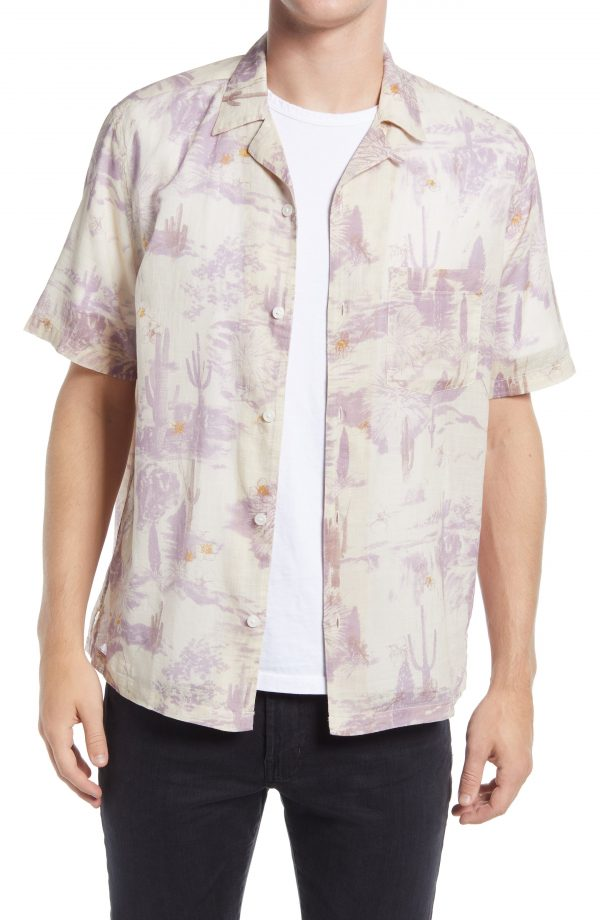 Men's Allsaints Joshua Tree Print Short Sleeve Button-Up Camp Shirt, Size Medium - Beige