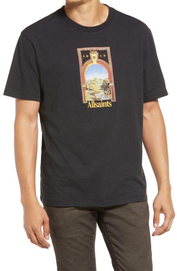 Men's Allsaints Kabbal Cotton Graphic Tee, Size Small - Black