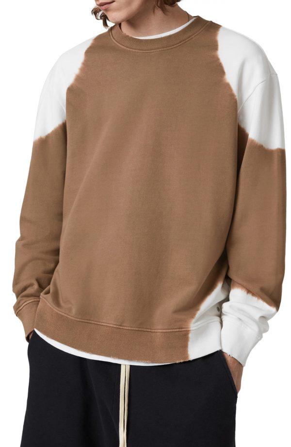 Men's Allsaints Karter Bleached Cotton Sweatshirt, Size Medium - Brown