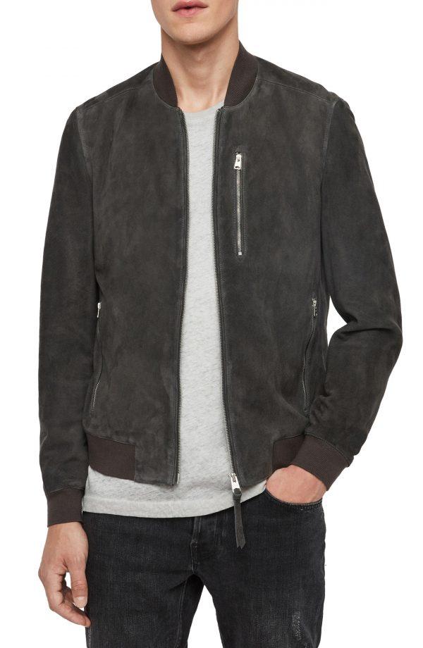Men's Allsaints Kemble Suede Bomber Jacket, Size XX-Large - Grey