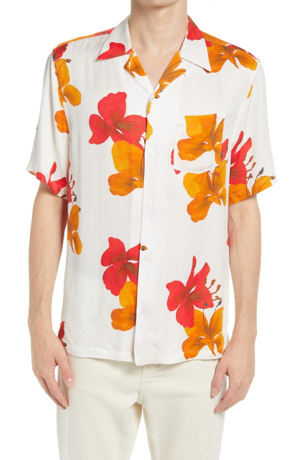 Men's Allsaints Kew Floral Short Sleeve Button-Up Camp Shirt, Size Medium - White