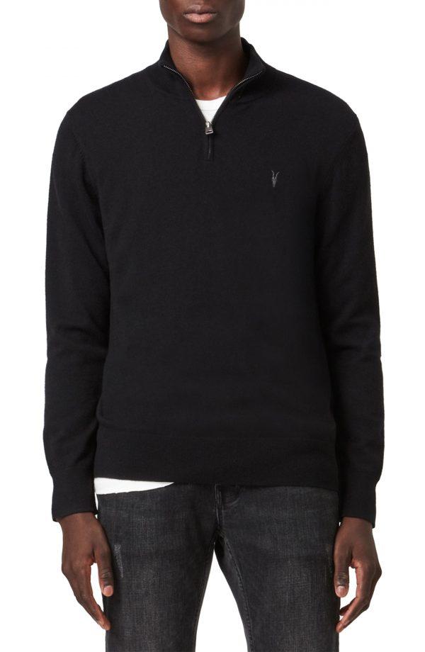 Men's Allsaints Kilburn Wool Blend Half-Zip Pullover, Size XX-Large - Black
