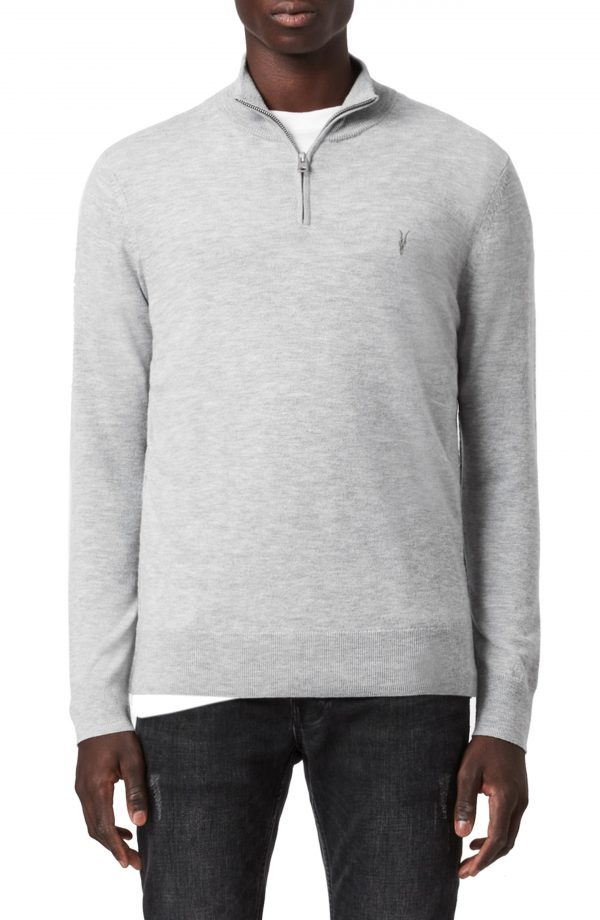 Men's Allsaints Kilburn Wool Blend Half-Zip Pullover, Size XX-Large - Grey