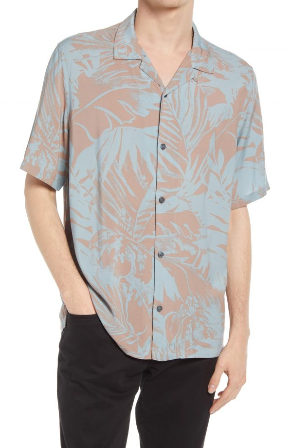 Men's Allsaints Lanai Floral Relaxed Fit Short Sleeve Button-Up Camp Shirt, Size XX-Large - Pink