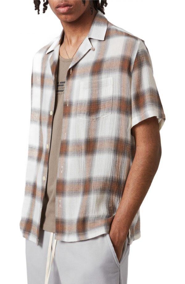 Men's Allsaints Landa Slim Fit Plaid Short Sleeve Button-Up Shirt, Size Small - White