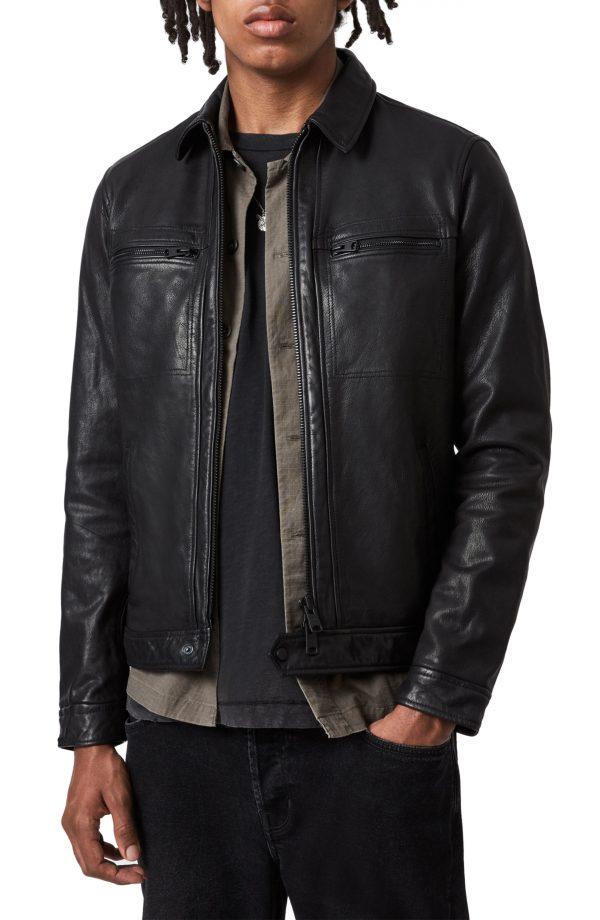 Men's Allsaints Lark Leather Jacket, Size Small - Black