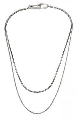 Men's Allsaints Layered Curb Chain Necklace