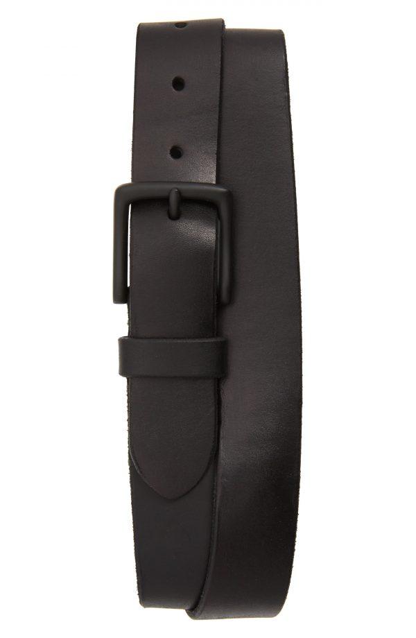 Men's Allsaints Leather Belt, Size 32 - Black/ Matte Black