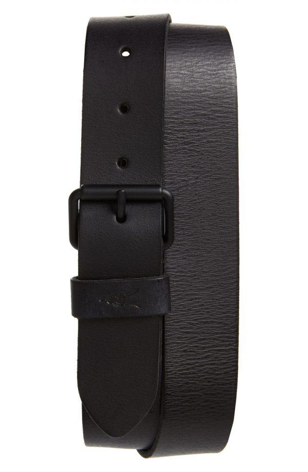 Men's Allsaints Leather Belt, Size 34 - Black