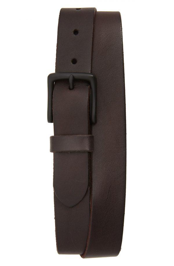 Men's Allsaints Leather Belt, Size 40 - Dark Brown/ Matte Black