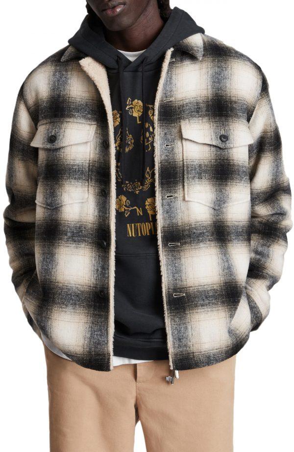Men's Allsaints Lewes Fleece Lined Shirt Jacket, Size Small - White