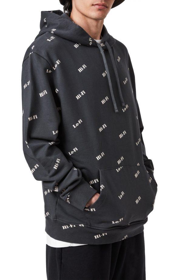 Men's Allsaints Lo-Fi High-Fi Cotton Hoodie, Size X-Small - Black