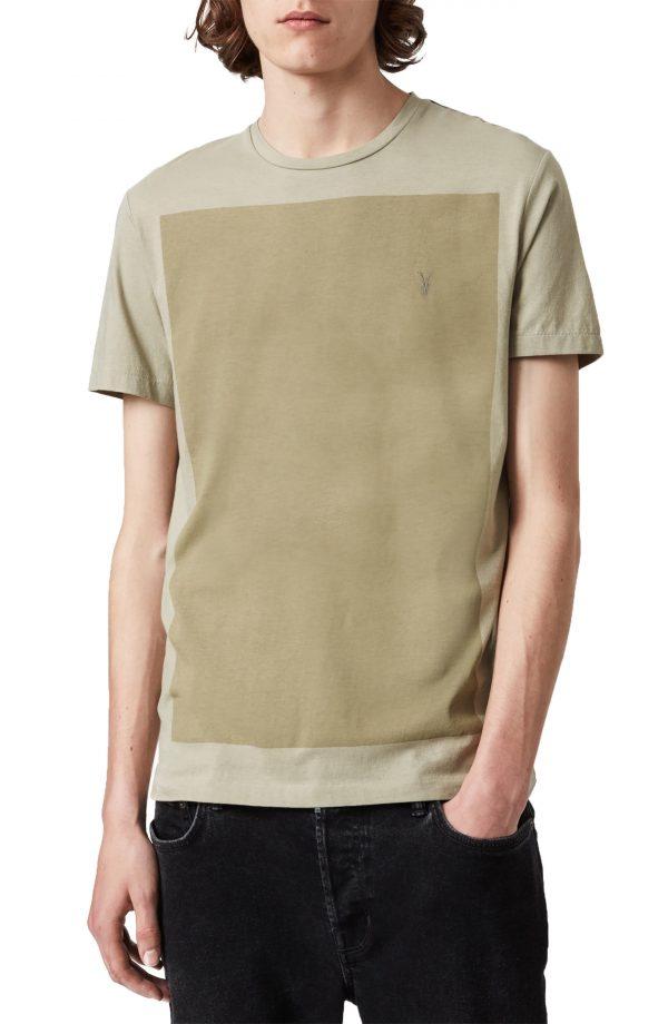 Men's Allsaints Lobke Cotton Colorblock T-Shirt, Size Small - Green