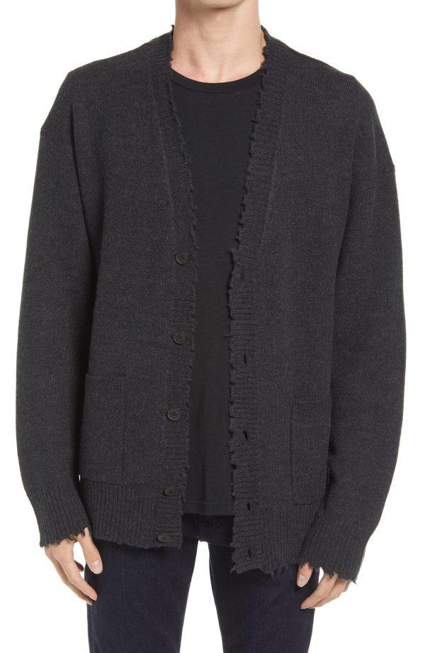 Men's Allsaints Luxor Wool Cardigan, Size Small - Black