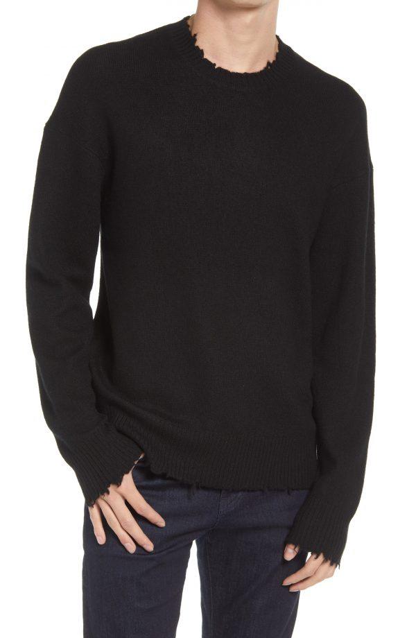 Men's Allsaints Luxor Wool Crewneck, Size Small - Black