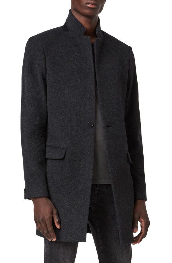 Men's Allsaints Manor Wool Overcoat, Size 36 - Grey
