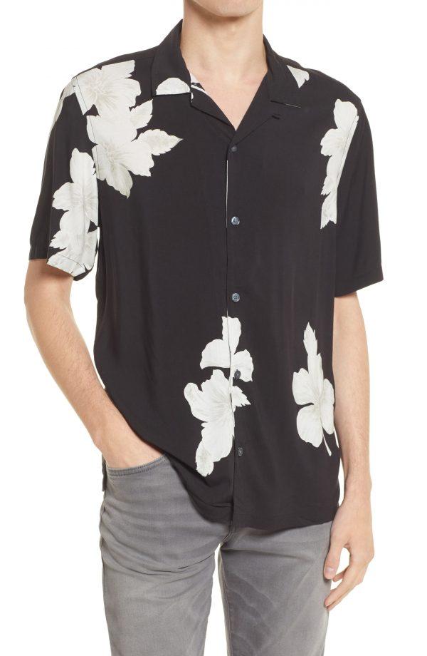 Men's Allsaints Men's Bouquet Relaxed Fit Floral Short Sleeve Button-Up Shirt, Size X-Small - Black
