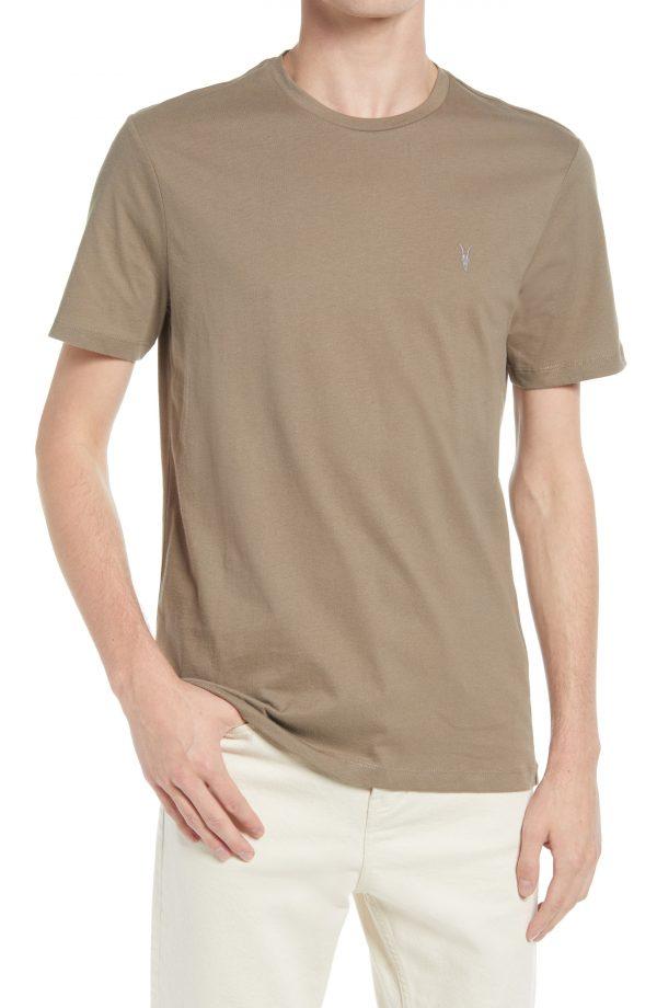 Men's Allsaints Men's Braces Solid Crewneck T-Shirt, Size X-Large - Brown