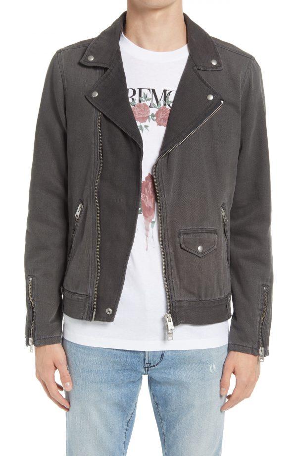 Men's Allsaints Men's Burgess Denim Moto Jacket, Size Large - Black
