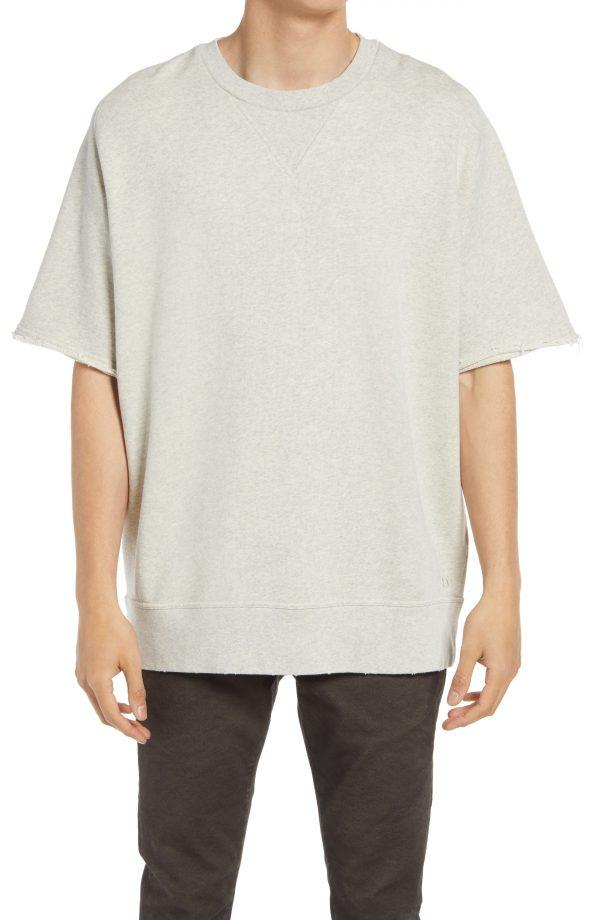 Men's Allsaints Men's Burnish Short Sleeve Sweatshirt, Size Small - Grey