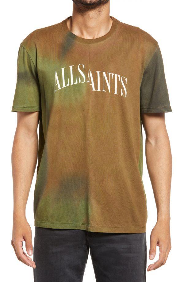 Men's Allsaints Men's Camo Dropout Cotton Graphic Tee, Size Small - Green
