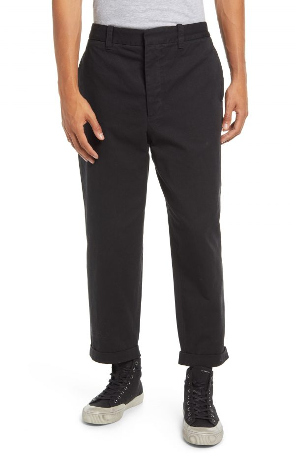 Men's Allsaints Men's Crate Crop Chino Pants, Size 28 - Black