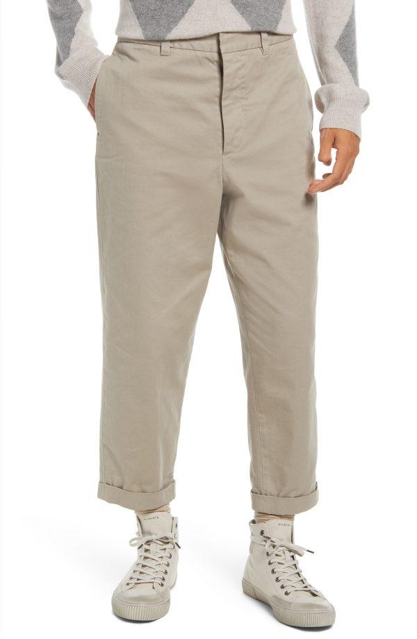 Men's Allsaints Men's Crate Crop Chino Pants, Size 30 - Grey