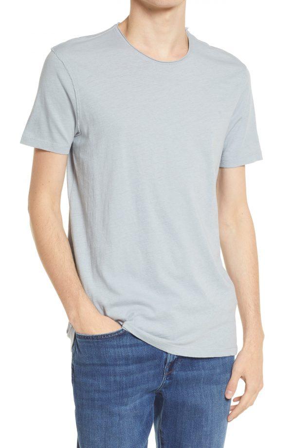 Men's Allsaints Men's Figure Raw Edge Crewneck T-Shirt, Size Small - Blue