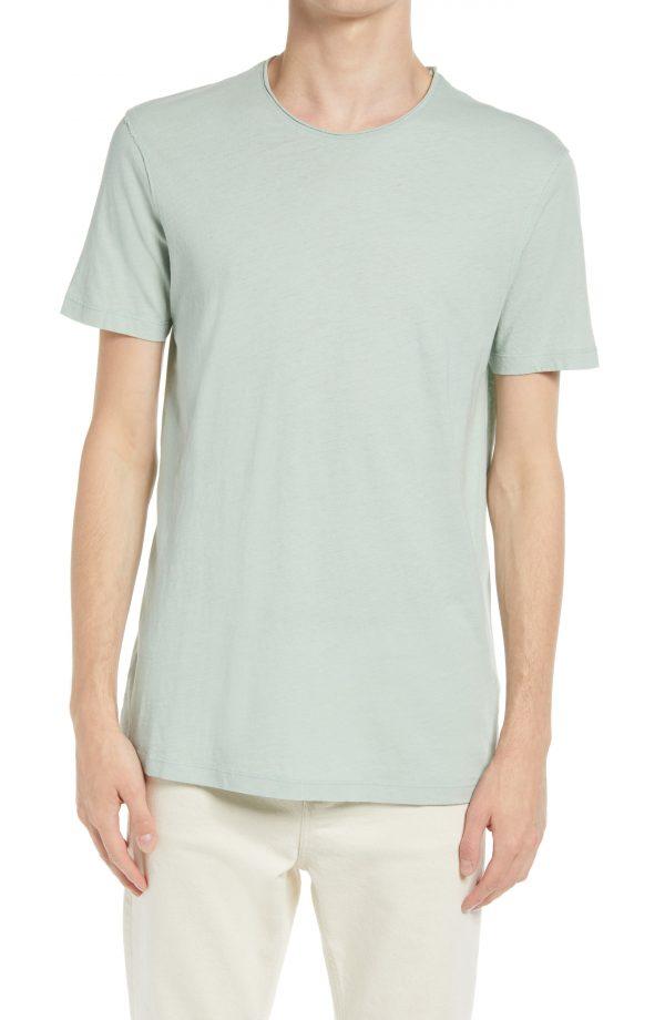 Men's Allsaints Men's Figure Raw Edge Crewneck T-Shirt, Size Small - Green