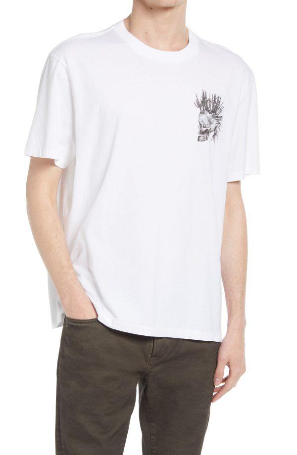 Men's Allsaints Men's Forsaken Skull Graphic Tee, Size X-Large - White