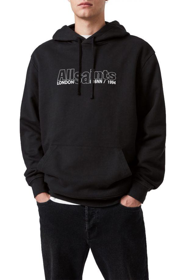 Men's Allsaints Men's Hollowpoint Graphic Hoodie, Size X-Small - Black