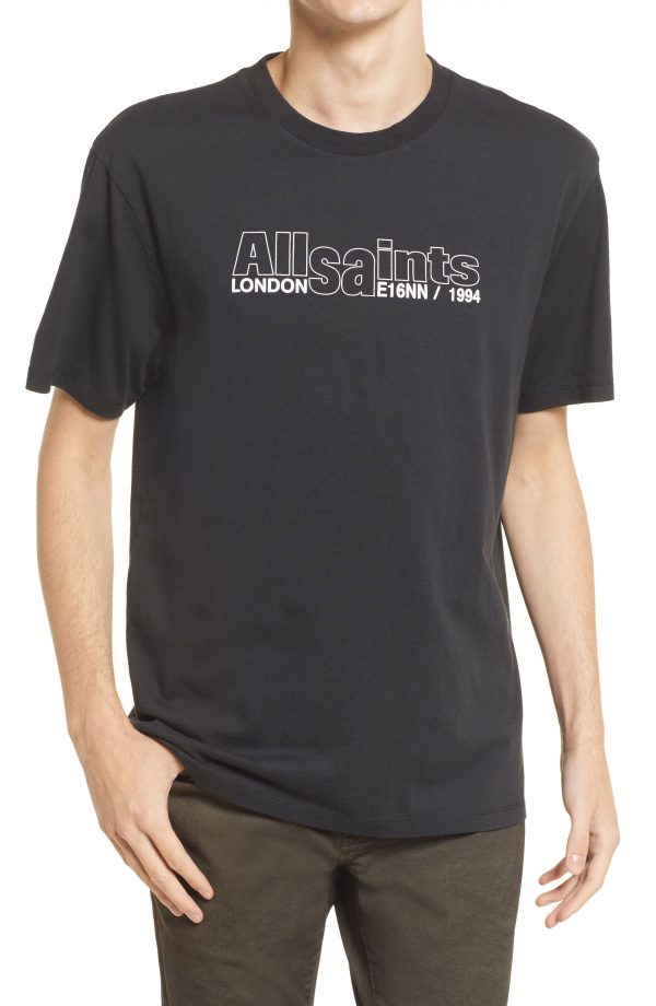 Men's Allsaints Men's Hollowpoint Graphic Tee, Size Small - Black
