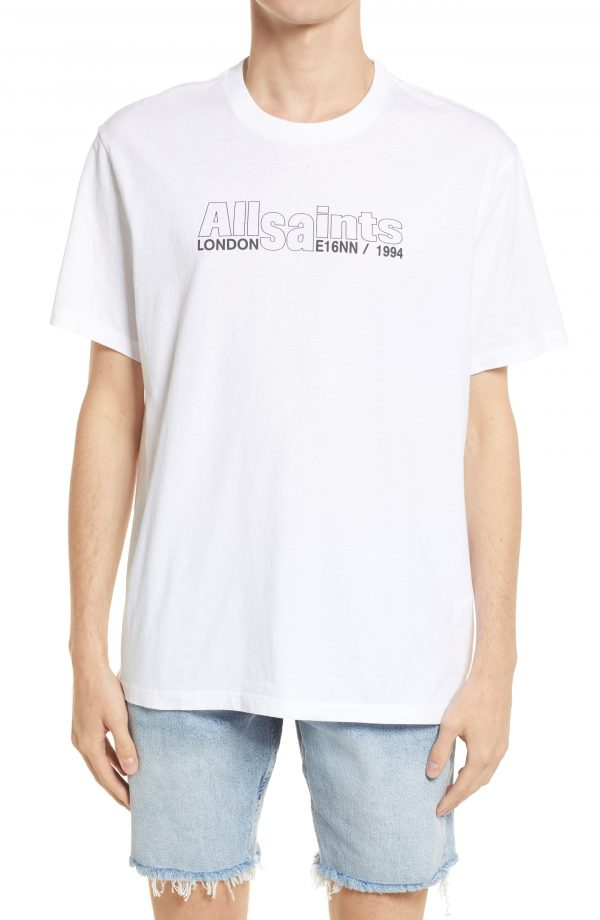 Men's Allsaints Men's Hollowpoint Graphic Tee, Size Small - White