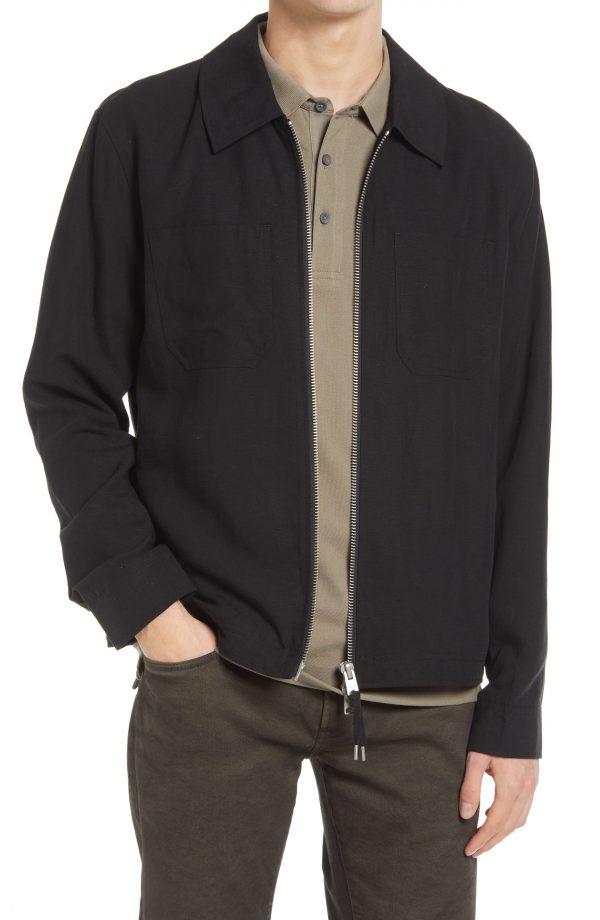 Men's Allsaints Men's Konta Front Zip Jacket, Size Small - Black