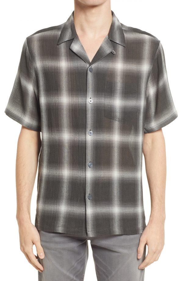 Men's Allsaints Men's Landa Relaxed Fit Plaid Short Sleeve Button-Up Shirt, Size Large - Black