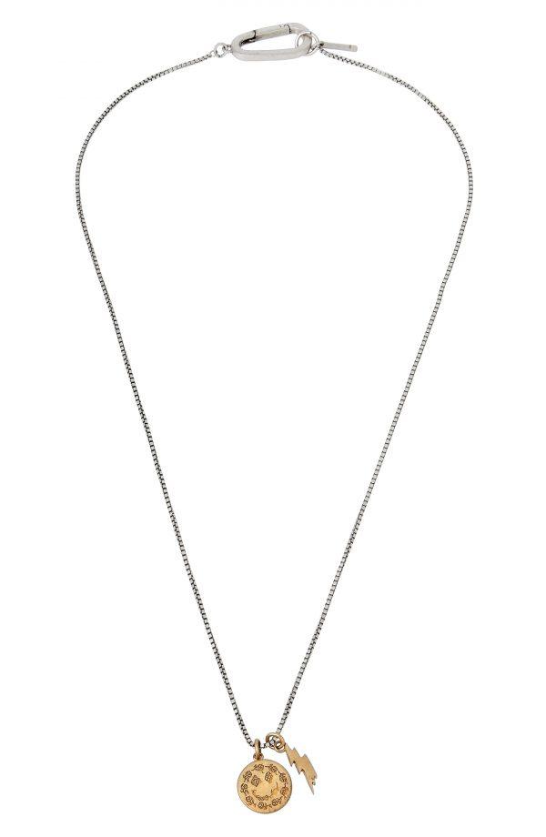 Men's Allsaints Men's Medallion & Lightning Bolt Pendant Necklace
