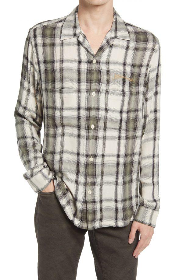 Men's Allsaints Men's Rancho Relaxed Fit Plaid Button-Up Shirt, Size Large - White
