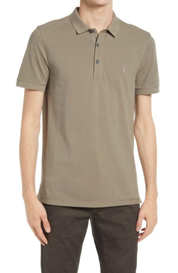 Men's Allsaints Men's Reform Solid Polo Shirt, Size Large - Brown