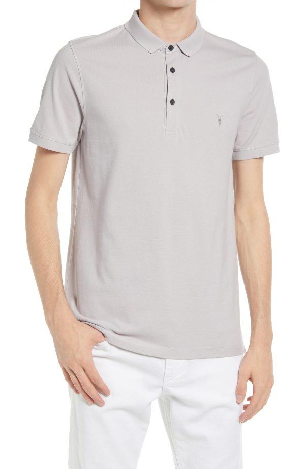 Men's Allsaints Men's Reform Solid Polo Shirt, Size Large - Grey