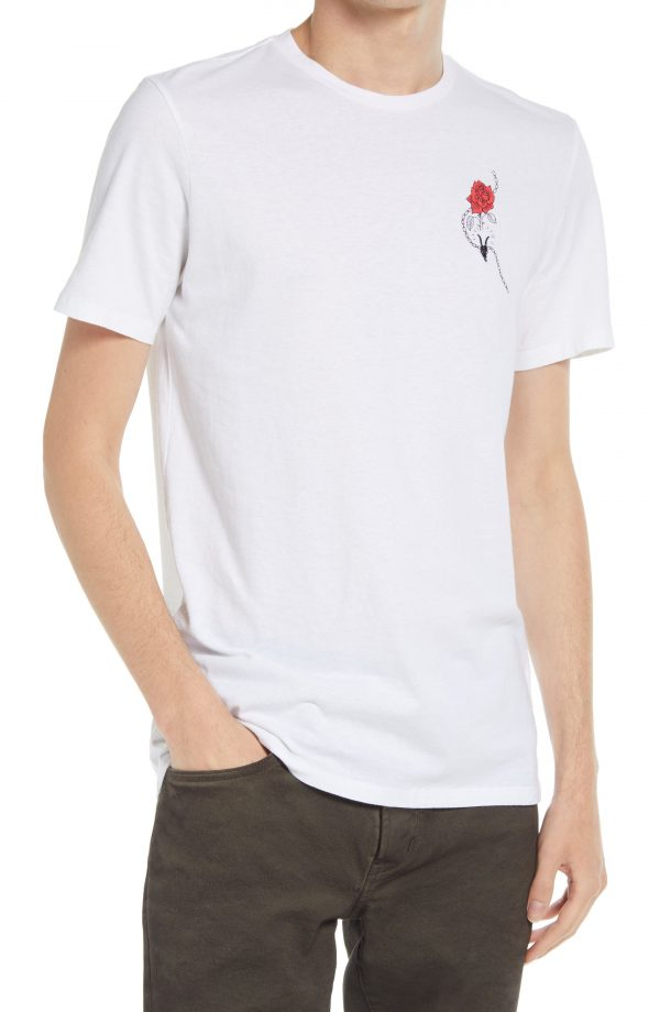 Men's Allsaints Men's Rose Brace Graphic Tee, Size X-Large - White